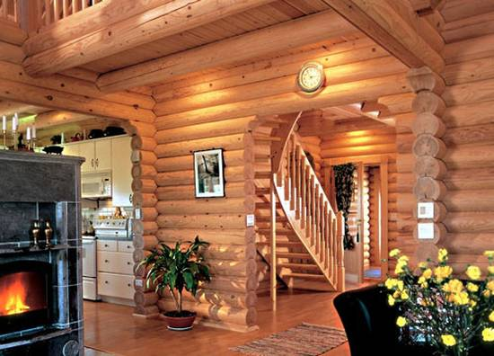 дом из бревна интерьер
