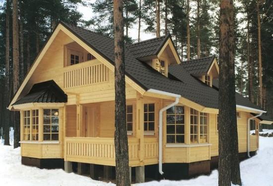 Дом из бруса зима