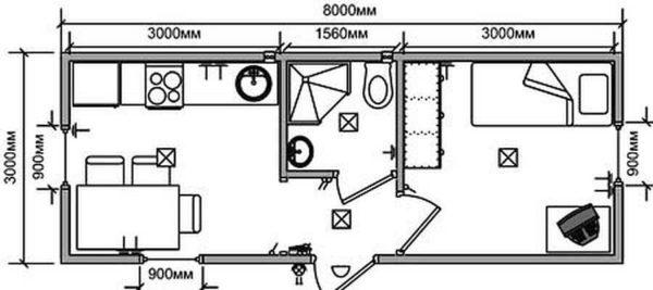Дачные бытовки из двух комнат с туалетом и душем в фото