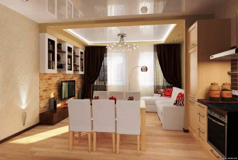Дизайн кухни-гостиной 26 кв м