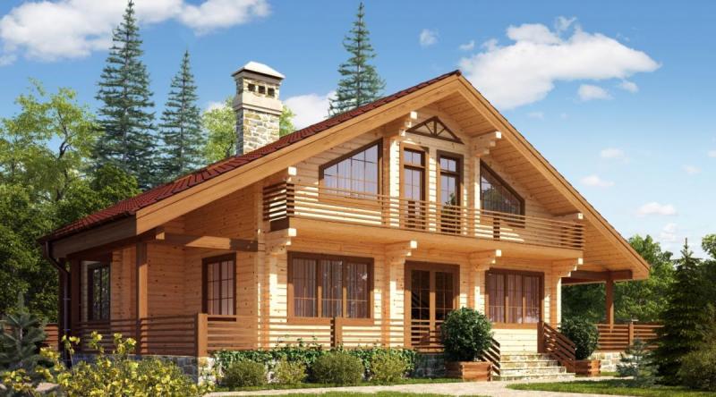 Дома из профилированного бруса в фото