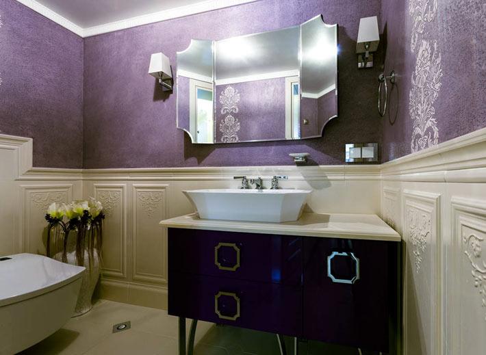 Фиолетовый цвет в дизайне ванной комнаты в фото