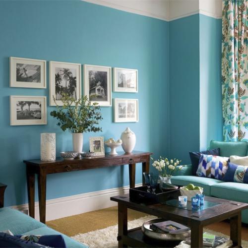 Интерьер гостиной в синем цвете в фото