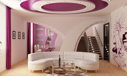Как делается ниша для светодиодной подсветки потолка? в фото