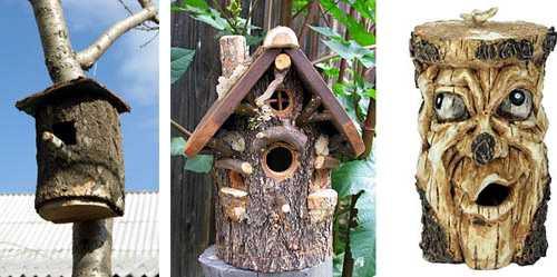 Как сделать скворечник: из досок и бревна для разных птиц в фото