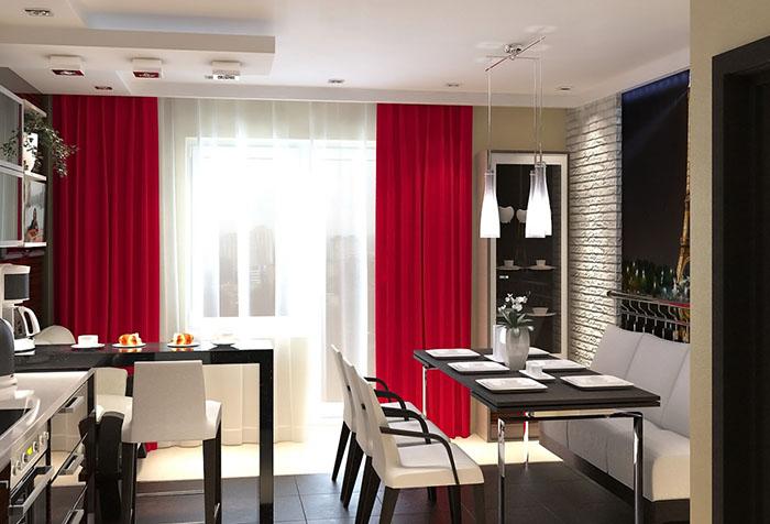 Красные шторы: рекомендации по использованию в интерьере в фото