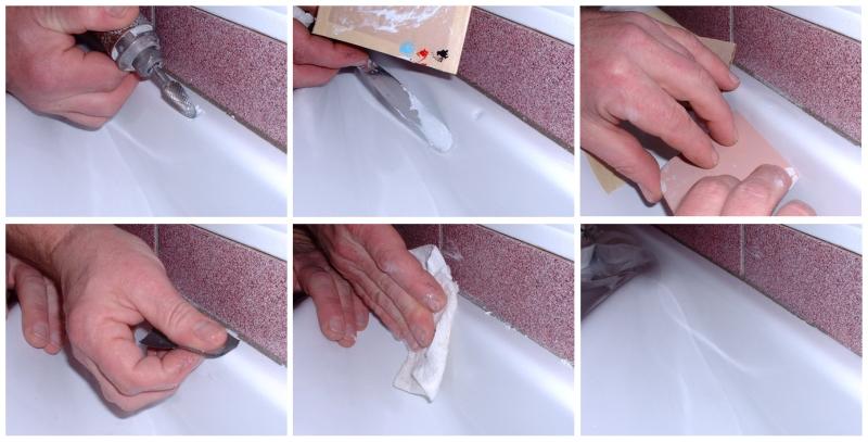 Ликвидация сколов чугунной ванны в фото