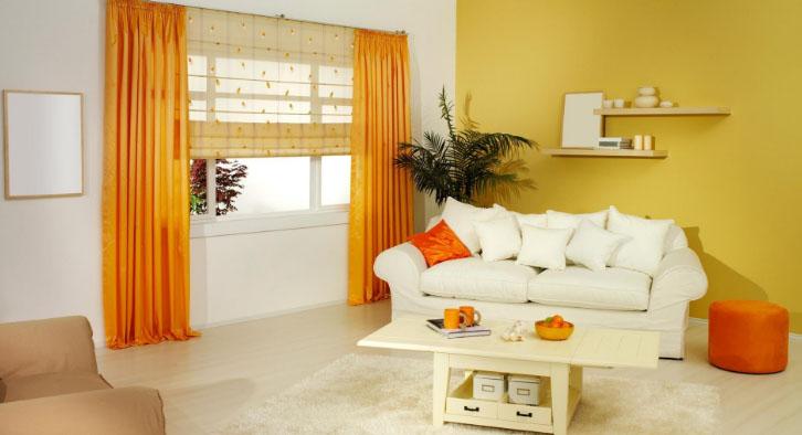 Оранжевые шторы на окна: секреты выбора для кухни, ванной, детской и гостиной в фото
