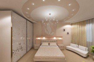 Потолок в спальне – чем проще, тем лучше