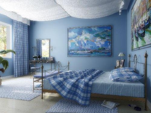 Спальня голубого цвета в фото