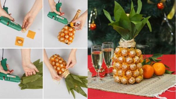 Украшаем бутылку шампанского на Новый год: эффектный аксессуар и идеальный подарок своими руками