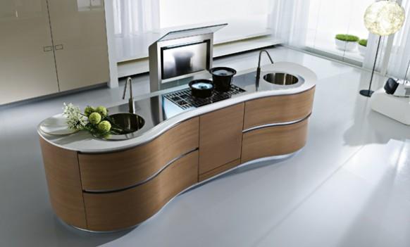 Уникальная кухня с плавными линиями от Pedini в фото