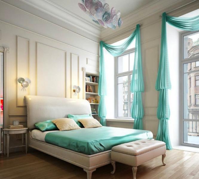 Все что нужно знать о правильном декоре окон бирюзовыми шторами в фото